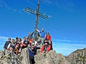 El grupo en la cima de la Cruz del Cardenal